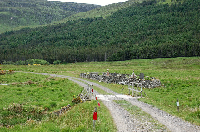Footbridge and burial ground