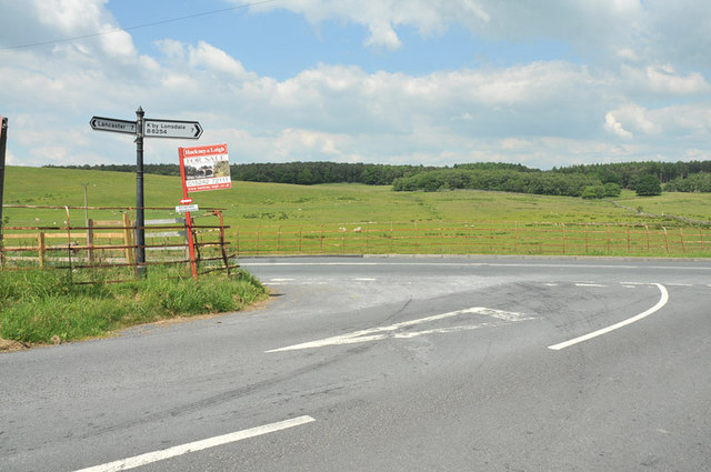 Junction of the Kirkby Lonsdale road from Lancaster and the B6254