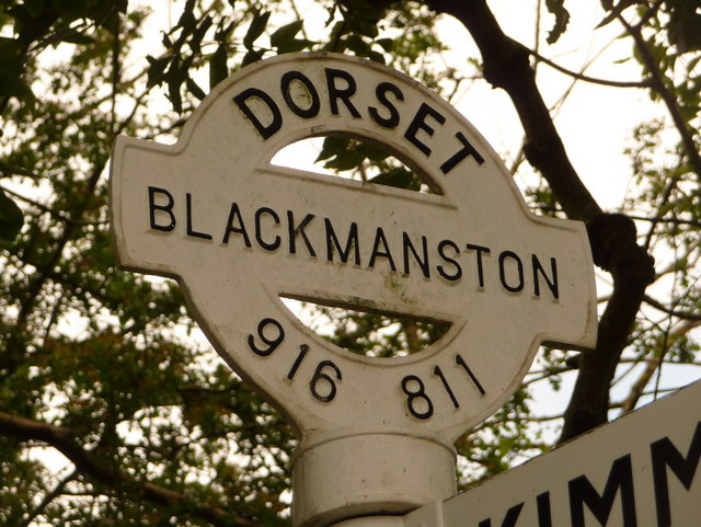Steeple: detail of Blackmanston finger-post