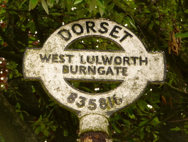 West Lulworth: detail of Burngate signpost