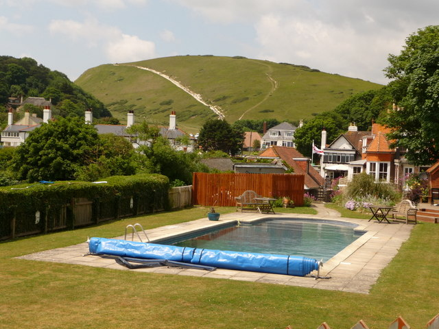 West Lulworth: a swimming pool with a view