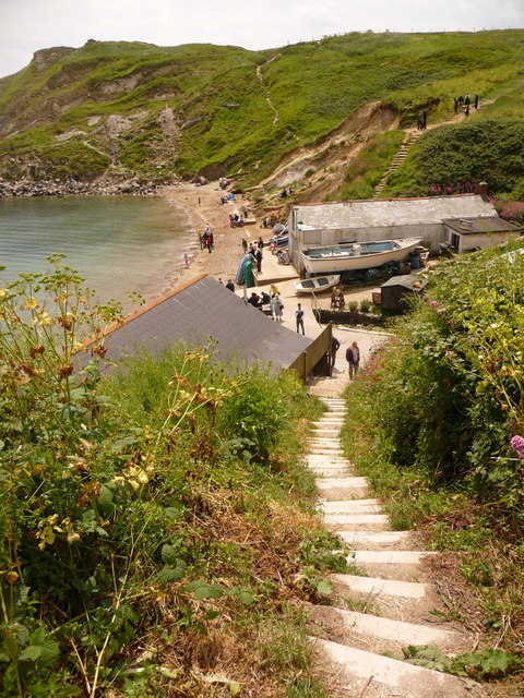 West Lulworth: steps to the shore