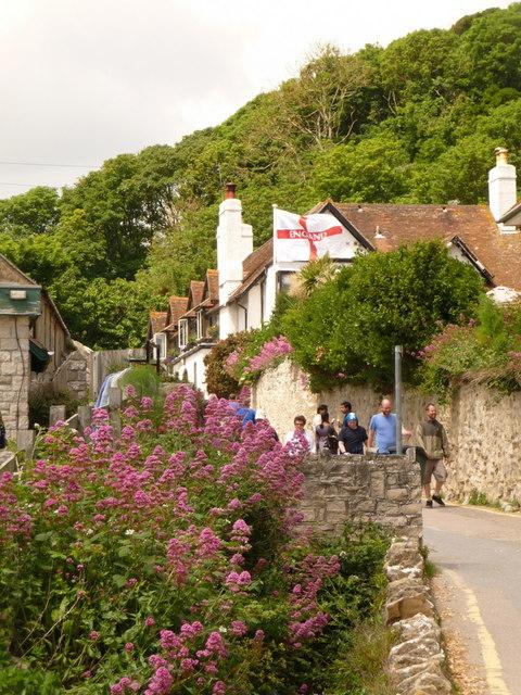 West Lulworth: England flag at the Beach House