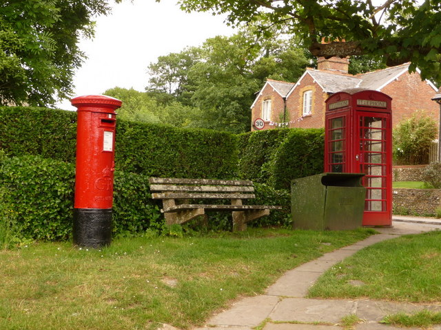 West Lulworth: postbox and phone on Church Road corner