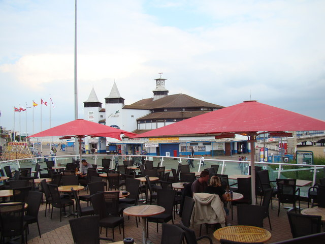 Seafront shops, viewed from the Hot Rocks cocktail bar