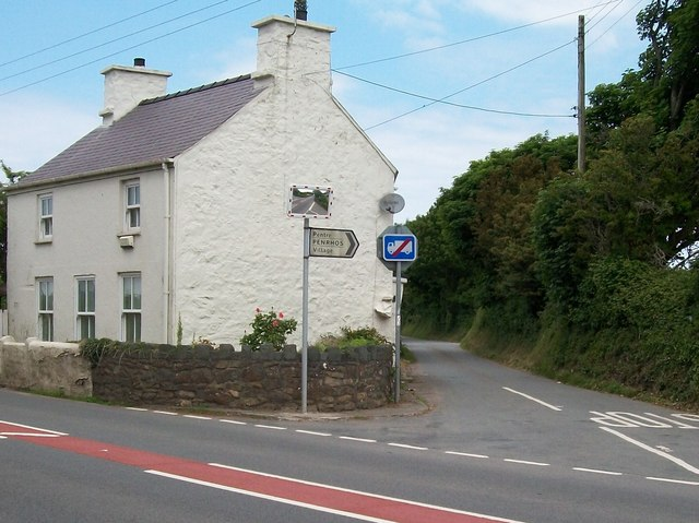 The road to Penrhos village and the backroad to Poland