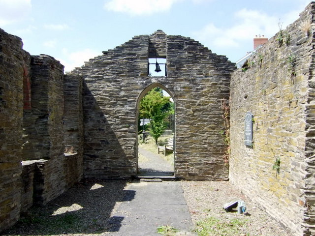 Ruined church, Llechryd, looking west