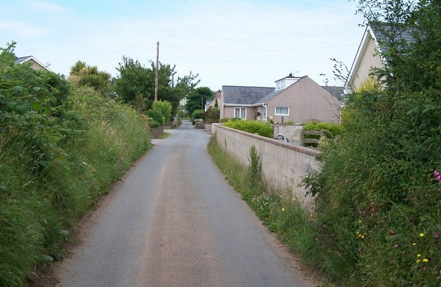 Bungalows on the eastern side of the hamlet of Penrhos