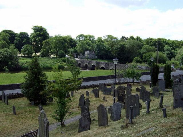 Holy Cross graveyard and Llechryd bridge