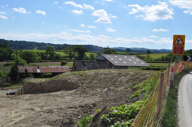 Old farm buildings next to the site for the new A470 trunk road
