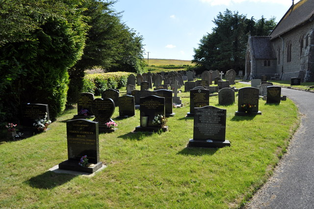 Graveyard at parish church of St.John the Divine, Cwmbach Llechrhyd