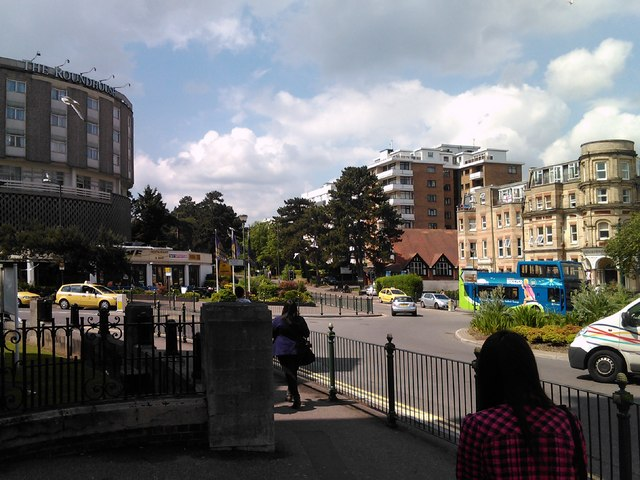 Christchurch Road Roundabout, with Roundhouse in shot