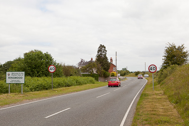 Approaching Ringwood northwards on B3347