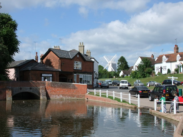 The village pond and road bridge, Finchingfield