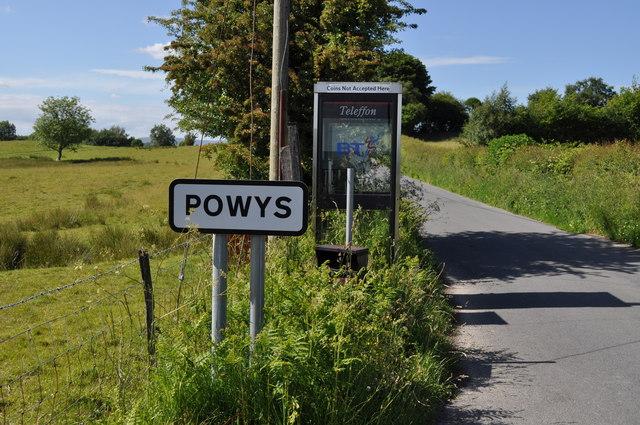 Telephone kiosk at the English/ Welsh border