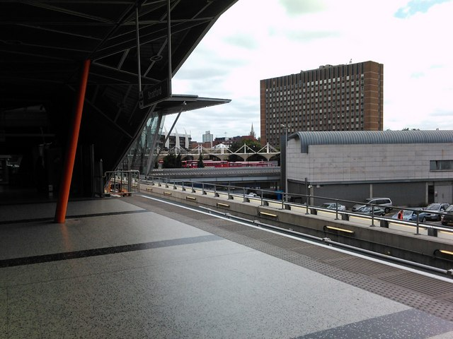 View of Stratford transport interchange from the new DLR platforms #2