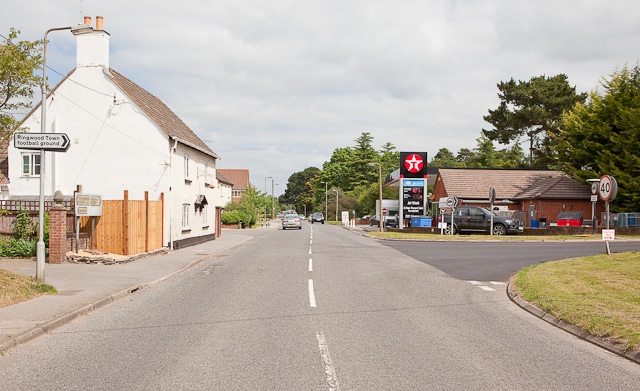 Road junction and Texaco filling station at Moortown