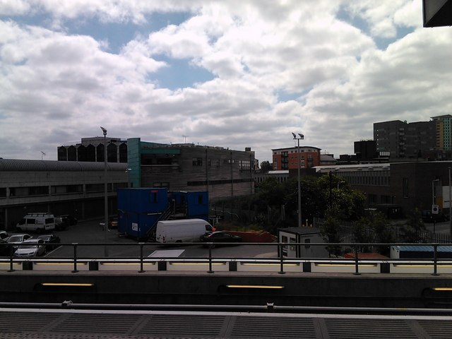 Jubilee line depot buildings, viewed from the DLR platforms