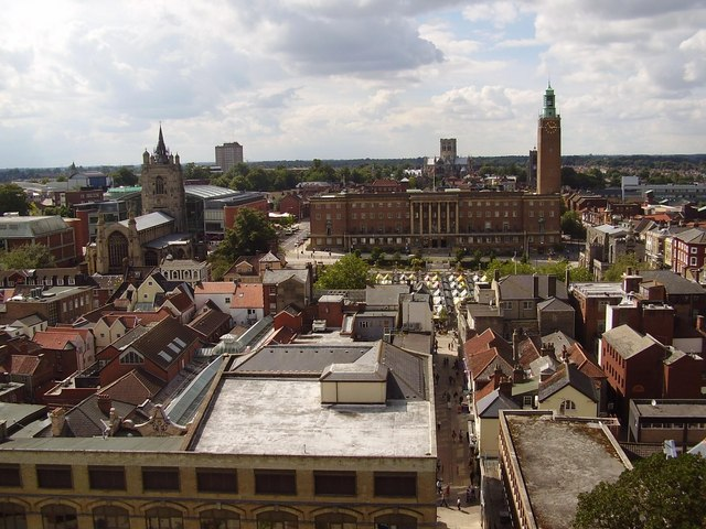 Norwich Town Hall from the Castle