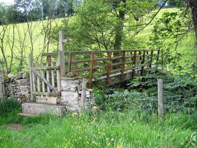 Wooden footbridge over Walden Beck