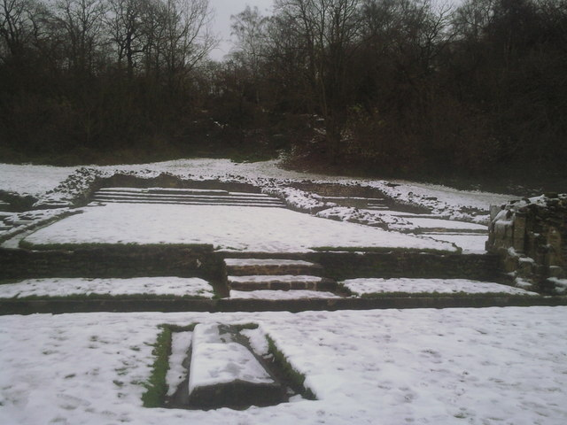 The high altar of Lesnes Abbey in the snow