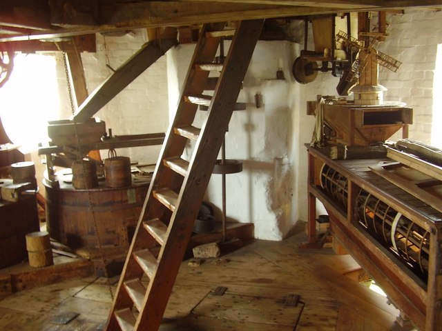 Inside Saxtead Green Post Mill