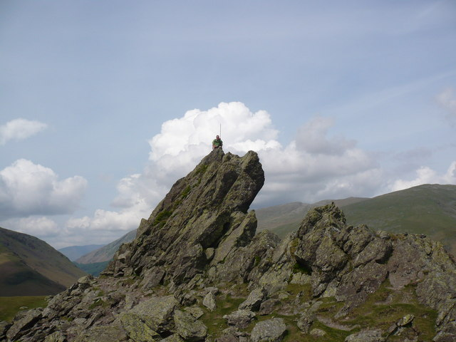 "The ""Howitzer"" on the summit of Helm Crag"