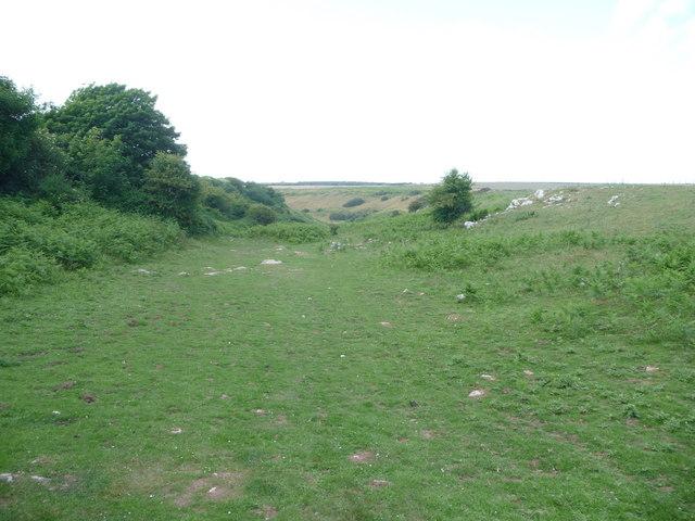 A dry valley near Heol-y-mynydd common