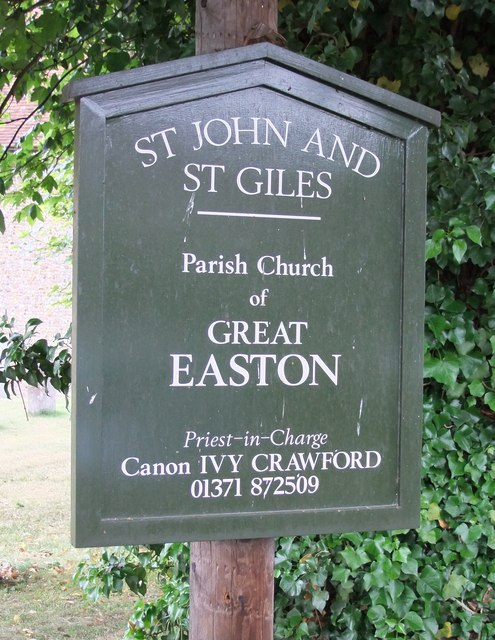 Church sign: St John & St Giles Church, Great Easton