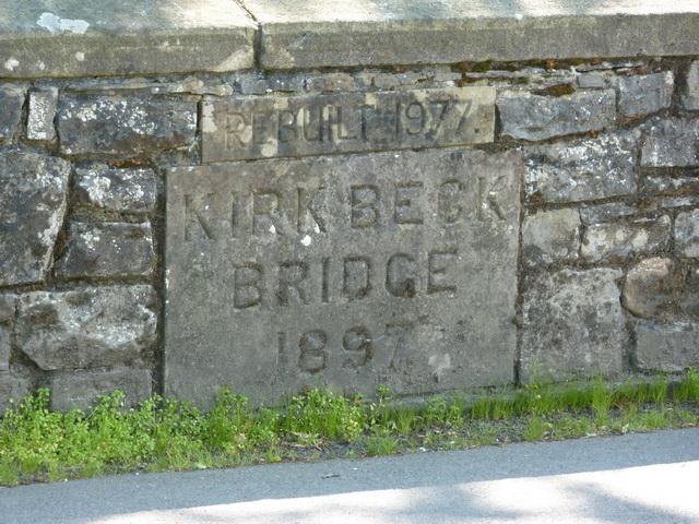 Kirk Beck Bridge, Bolton-by-Bowland, Date stone
