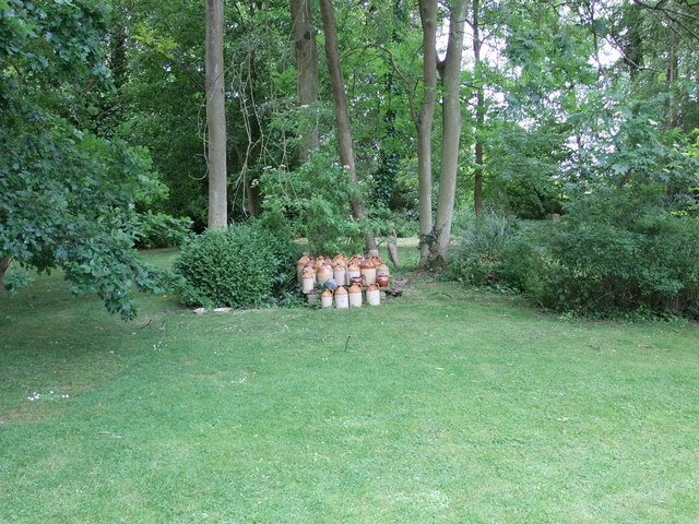 A collection of old bottles in the Gardens of Easton Lodge