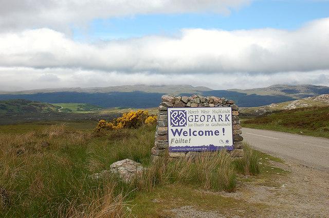 Boundary sign, North West Highlands Geopark