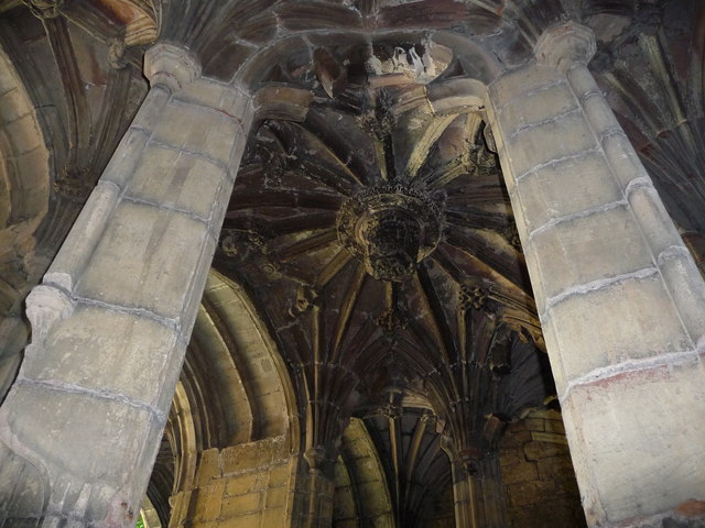 The vaulted ceiling of St. Winefride's Well, Holywell
