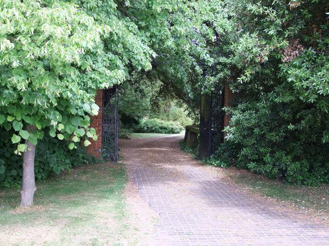 Gate entrance to Easton Lodge