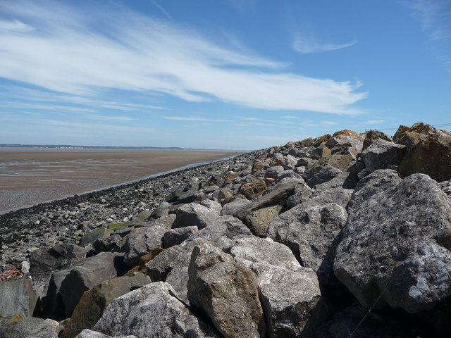 The sea defences on the River Dee estuary