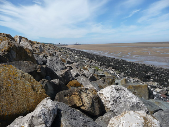 The sea defences on the River Dee estuary, looking westwards