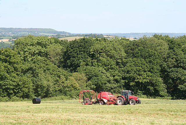 Sampford Peverell: baling by Stonesland Cross