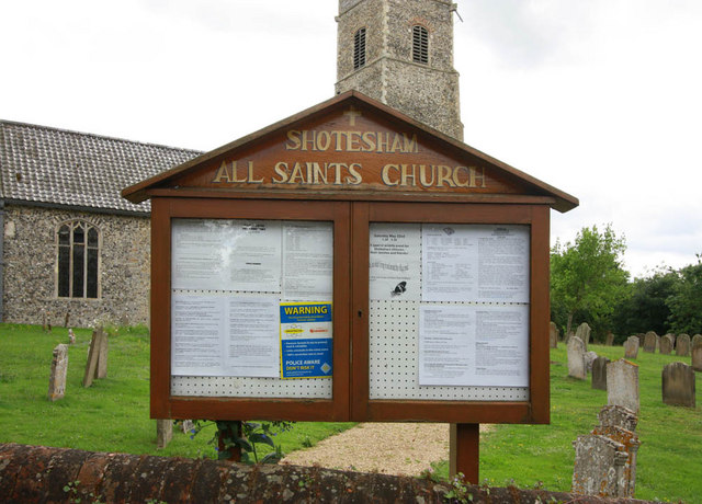 All Saints, Shotesham, Norfolk - Notice board