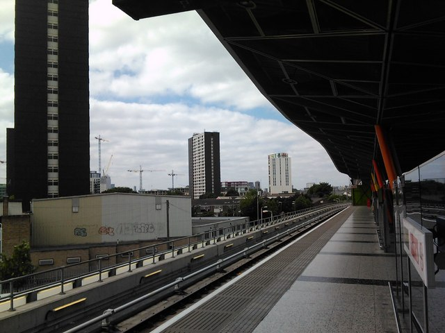Tower blocks in Stratford, viewed from the DLR platform