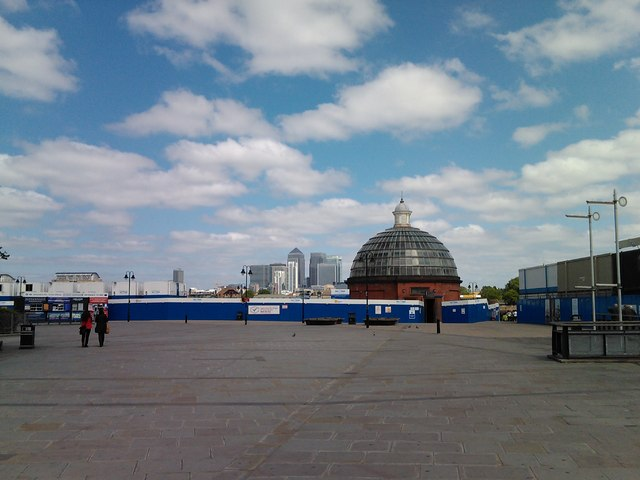 Greenwich Foot Tunnel entrance and Canary Wharf, viewed from Maritime Greenwich