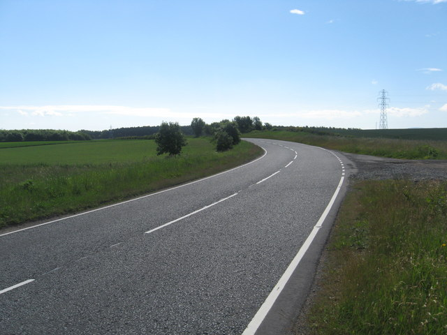 The A697 passing Whitrigg