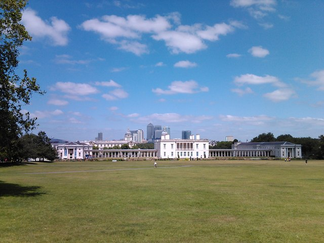 View of Queen's House, the National Maritime Museum and Canary Wharf from Greenwich Park