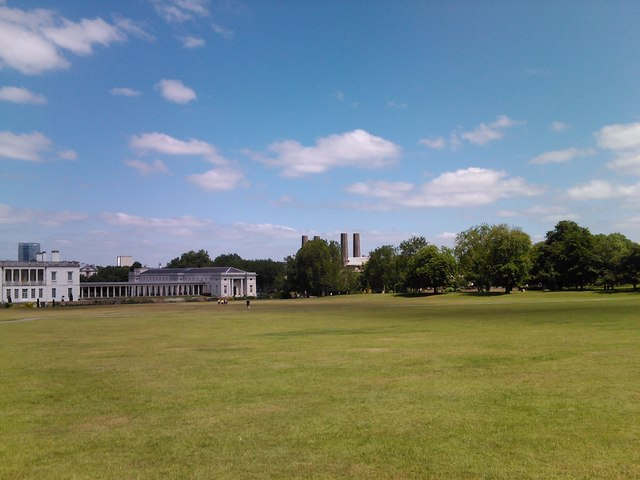 View of four tall chimneys from Greenwich Park