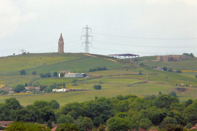Hartshead Pike from Dukinfield Crematorium