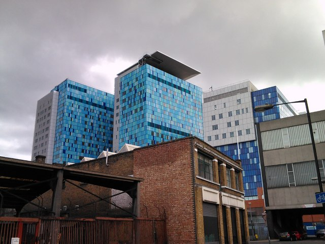 View of the new Royal London Hospital wards from Raven Row