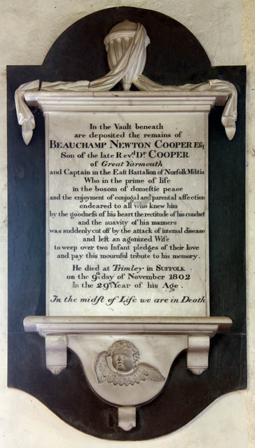 All Saints, Shotesham, Norfolk - Wall monument