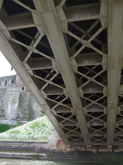 Detail from beneath road bridge at Conwy