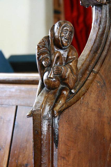 St Margaret, Kirstead, Norfolk - Bench elbow