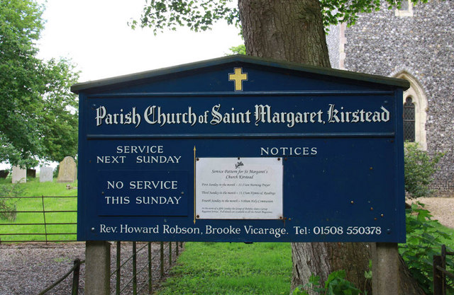 St Margaret, Kirstead, Norfolk - Notice board
