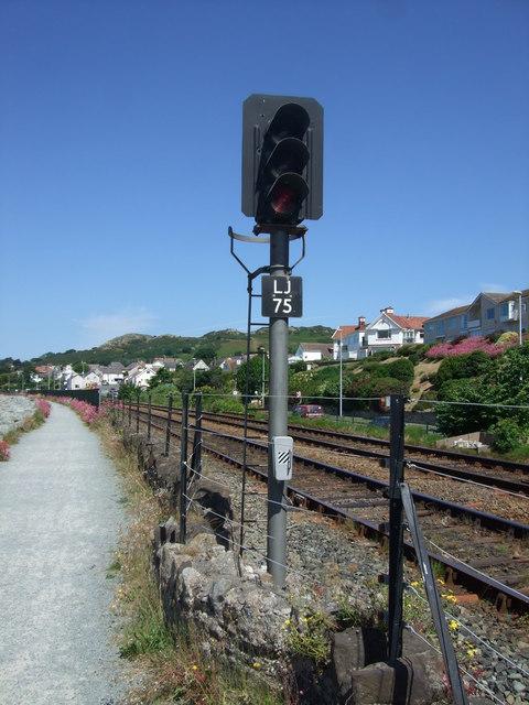 Railway signal approaching Deganwy